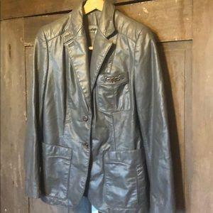 Vintage Etienne Aigner gray leather blazer